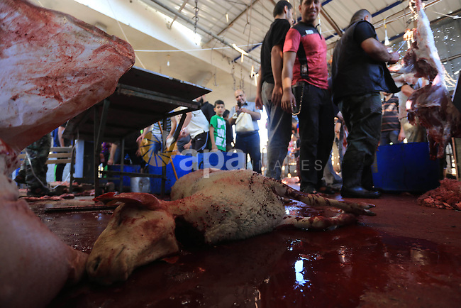 Palestinian butchers cut the meat of a cow after slaughtered on the first day of Eid al-Adha or or the feast of sacrifice, in Gaza city on October 4, 2014. Muslims around the world are celebrating Eid al-Adha, the Festival of Sacrifice, to mark the end of the hajj pilgrimage by slaughtering sheep, goats, cows and camels to commemorate Prophet Abraham's readiness to sacrifice his son Ismail on God's command. Photo by Mohammed Asad