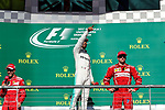 Mercedes driver Lewis Hamilton (44) of Great Britain on the podium after the Formula 1 United States Grand Prix race at the Circuit of the Americas race track in Austin,Texas.