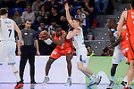 Real Madrid's Jaycee Carroll and Valencia Basket's Romain Sato during 2017 King's Cup match between Real Madrid and Valencia Basket at Fernando Buesa Arena in Vitoria, Spain. February 19, 2017. (ALTERPHOTOS/BorjaB.Hojas)