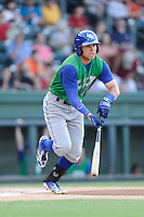 Center fielder Dominique Taylor (40) of the Lexington Legends bats in a game against the Greenville Drive on Friday, August 29, 2014, at Fluor Field at the West End in Greenville, South Carolina. Greenville won, 6-1. (Tom Priddy/Four Seam Images)