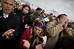 "© Remi OCHLIK/IP3 -  Kasserine Tunisia - Saturday 24 January - Protesters who want the RDC, the Bel Ali party to be dismembered, demonstrate in Kasserine streets. They end up and mourn on the place called ""Martyrs place"" where  protesters where killed by police ten days ago  The 6 january 2011 a desperate young man  unemployed from set himself on fier in front of the rail way station of Kasserine. Next days demonstrations and riots took place in the citie. Policemen and police snipers  killed 56 protesters."