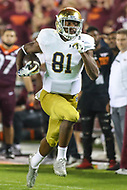 Blacksburg, VA - October 6, 2018: Notre Dame Fighting Irish wide receiver Miles Boykin (81) runs the ball during the game between Notre Dame and VA Tech at  Lane Stadium in Blacksburg, VA.   (Photo by Elliott Brown/Media Images International)