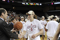 March 14, 2010.  Kayla Pedersen receives her game ball after the Stanford Cardinal beat the UCLA Bruins to win the 2010 Pac-10 Tournament.