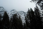 November snow on the mountains in Glacier National Park from the Avalanche Creek trail