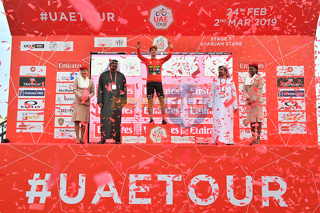 Race leader Primoz Roglic (SLO) Team Jumbo-Visma retains the Red Jersey on the podium at the end of Stage 5 of the 2019 UAE Tour, running 181km form Sharjah to Khor Fakkan, Dubai, United Arab Emirates. 28th February 2019.<br /> Picture: LaPresse/Massimo Paolone | Cyclefile<br /> <br /> <br /> All photos usage must carry mandatory copyright credit (© Cyclefile | LaPresse/Massimo Paolone)
