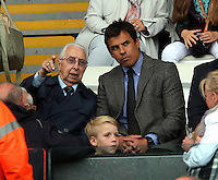 Pictured: Wales football manager Chris Coleman (R) Sunday 30 August 2015<br /> Re: Premier League, Swansea v Manchester United at the Liberty Stadium, Swansea, UK