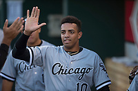 AZL White Sox shortstop Lency Delgado (10) high fives a teammate after scoring a run during an Arizona League game against the AZL Indians 1 at Goodyear Ballpark on June 20, 2018 in Goodyear, Arizona. AZL Indians 1 defeated AZL White Sox 8-7. (Zachary Lucy/Four Seam Images)