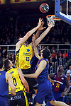 League ACB-ENDESA 2017/2018 - Game: 11.<br /> FC Barcelona Lassa vs Iberostar Tenerife: 91-93.<br /> Mateusz Ponitka, Tim Abromaitis &amp; Pierre Oriola.
