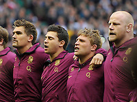 Twickenham, England. Toby Flood, Ben Youngs, Tom Youngs and Dan Cole of Leicester Tigers and England line up for the national anthems at the QBE international match between England and Australia for the Cook Cup at Twickenham Stadium on November 10, 2012 in Twickenham, England