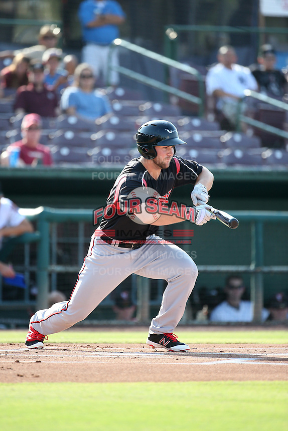 Michael Gettys (23) of the Lake Elsinore Storm bunts during a game against the Inland Empire 66ers at San Manuel Stadium on July 31, 2016 in San Bernardino, California. Inland Empire defeated Lake Elsinore, 8-7. (Larry Goren/Four Seam Images)