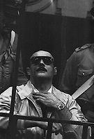 Brescia: prima sentenza per la strage di Piazza della Loggia, attentato terroristico che provoc&ograve; la morte di 8 persone e il ferimento di altre 102. il neofascista Ermanno Buzzi condannato all'ergastolo e poi ucciso nel supercarcere di Novarai. Giugno 1979.  <br /> Brescia: first judgement  for the  Piazza della Loggia bombing  that took place on the morning of 28 May 1974, in Brescia, Italy during an anti-fascist protest. Ermanno Buzzi. June 1979.