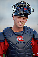 New Hampshire Fisher Cats catcher Riley Adams (22) walks to the dugout before an Eastern League game against the Trenton Thunder on August 20, 2019 at Arm & Hammer Park in Trenton, New Jersey.  New Hampshire defeated Trenton 7-2.  (Mike Janes/Four Seam Images)
