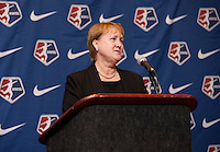 NWSL commissioner Cheryl Bailey addresses the crowd during the NWSL draft at the Pennsylvania Convention Center in Philadelphia, PA, on January 17, 2014.
