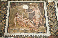 Picture of a Roman mosaics design depicting Endymion sleeping while Selene, the moon goddess, admires him, from the ancient Roman city of Thysdrus House in Jilani Guirat area. End of 2nd century AD. El Djem Archaeological Museum, El Djem, Tunisia.