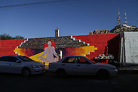 Rene Linares, painter originally from Guadalajara, paints mural in the Historic Center of Hermosillo, as part of the artistic projects of Casa Madrid. Rescare of downtown. 16December2015.<br /> (Photo: Luis Gutierrez / NortePhoto)<br /> <br /> Rene Linares, pintor originario de Guadalajara, pinta mural en el Centro Historico de Hermosillo, como parte de los proyectos art&iacute;sticos de Casa Madrid. rescare del centro de la ciudad. 16Diciembre2015.<br /> (Foto:Luis Gutierrez / NortePhoto)