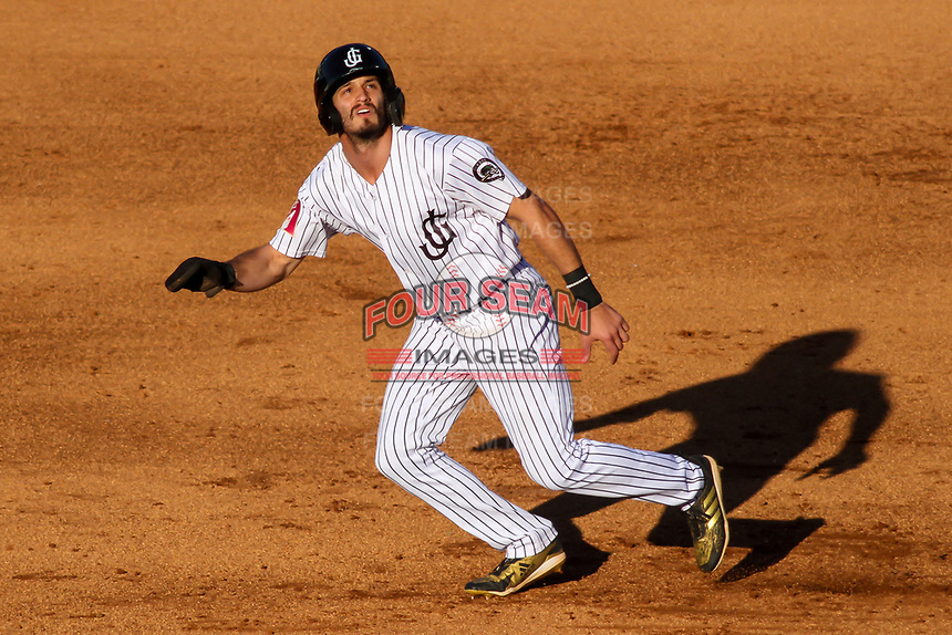 Jackson Generals Ben DeLuzio (41) breaks for second base during a Southern League game against the Biloxi Shuckers on June 13, 2019 at The Ballpark at Jackson in Jackson, Tennessee. Jackson defeated Biloxi 5-4. (Brad Krause/Four Seam Images)