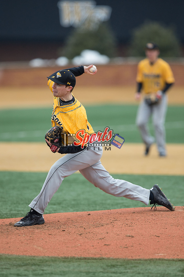 Towson Tigers starting pitcher Kevin Ross (27) delivers a pitch to the plate against the Wake Forest Demon Deacons at Wake Forest Baseball Park on March 1, 2015 in Winston-Salem, North Carolina.  The Demon Deacons defeated the Tigers 15-8.  (Brian Westerholt/Sports On Film)