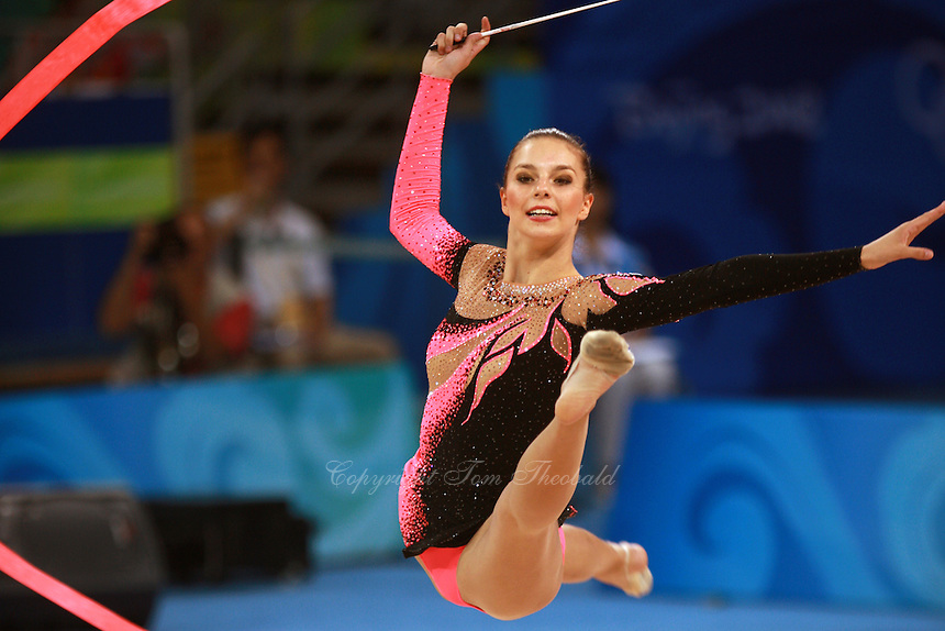 August 22, 2008; Beijing, China; Rhythmic gymnast Joanna Mitrosz of Poland performs with ribbon on way to placing 16th in the qualifying at 2008 Beijing Olympics. Copyright 2008 Tom Theobald