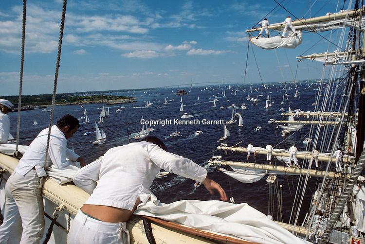 Square Rigger; Sail race, Operation Sail Tall Ships; Sail Training Association; US Bicentennial; Atlantic Ocean; adventure; STA, 1976, Seamanship, cadet training, Newport, Rhode Island, Newport Bridge connects Newport with Jamestown spaning East Passage of Narragansett Bay