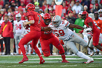 College Park, MD - NOV 12, 2016: Ohio State Buckeyes defensive end Tyquan Lewis (59) gets the sack against Maryland Terrapins offensive lineman Damian Prince (58) during game between Maryland and Ohio State at Capital One Field at Maryland Stadium in College Park, MD. (Photo by Phil Peters/Media Images International)
