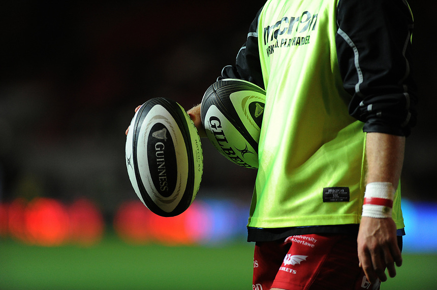 Scarlets Gilbert Rugby Balls<br /> <br /> Photographer Ashley Crowden/CameraSport<br /> <br /> Guinness Pro14  Round 5 - Scarlets v Connacht Rugby - Friday 29th September 2017 - Parc y Scarlets - Llanelli<br /> <br /> World Copyright &copy; 2017 CameraSport. All rights reserved. 43 Linden Ave. Countesthorpe. Leicester. England. LE8 5PG - Tel: +44 (0) 116 277 4147 - admin@camerasport.com - www.camerasport.com