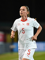 20181005 - LEUVEN , BELGIUM : Switzerland's Noelle Maritz   pictured during the female soccer game between the Belgian Red Flames and Switzerland , the first leg in the semi finals play offs for qualification for the World Championship in France 2019, Friday 5 th october 2018 at OHL Stadion Den Dreef in Leuven , Belgium. PHOTO SPORTPIX.BE | DIRK VUYLSTEKE