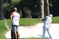 Darren Fichardt (RSA) plays his 2nd shot from a fairway bunker on the 9th hole and catches the lip during Saturday's Round 3 of the 2018 Turkish Airlines Open hosted by Regnum Carya Golf &amp; Spa Resort, Antalya, Turkey. 3rd November 2018.<br /> Picture: Eoin Clarke | Golffile<br /> <br /> <br /> All photos usage must carry mandatory copyright credit (&copy; Golffile | Eoin Clarke)
