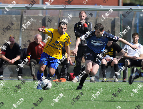 2013-04-28 / Voetbal / seizoen 2012-2013 / Ternesse - Lutlommel / Umut Aktepe (l. Ternesse) met Daniel Voigt..Foto: Mpics.be
