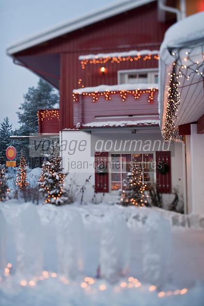 Europe/Finlande/Laponie/Levi: Décoration de Noël de l'Hôtel Hullu Poro