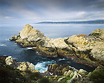"The Pinnacle at Point Lobos State Natural Reserve. Reserve originally created in 1973; expanded to State Marine Reserve (SMR) and State Marine Conservation Area (SMCA) in 2007. Called the ""greatest meeting of land and water in the world"" by landscape artist Francis McComas. Monterey County, CA."