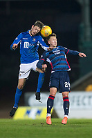 29th December 2019; McDairmid Park, Perth, Perth and Kinross, Scotland; Scottish Premiership Football, St Johnstone versus Ross County; Murray Davidson of St Johnstone competes in the air with Harry Paton of Ross County  - Editorial Use