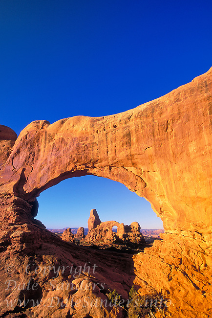 Turret arch as seen through North Window, Arches National Park, Utah, USA