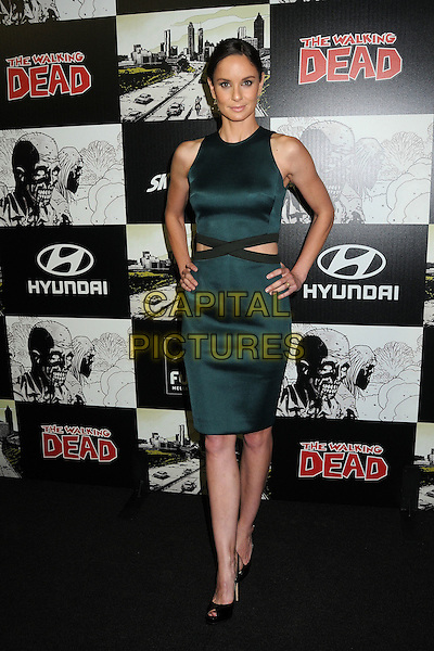 "Sarah Wayne Callies.""The Walking Dead"" 100th Issue Party held at Petco Park, San Diego, California, USA..July 13th, 2012.full length green sleeveless cut out away side hands on hips black trim peep toe shoes .CAP/ADM/BP.©Byron Purvis/AdMedia/Capital Pictures."