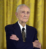 Former United States Senator Mike Mansfield (Democrat of Montana) at the swearing-in of former U.S. Senator Howard Baker (Republican of Tennessee) as U.S. Ambassador to Japan during a ceremony in the East Room at the White House in Washington, D.C. on June 26, 2001.  Mansfield, who is 98 years old, served in the U.S. Senate from 1953 until 1977.  He was Majority Leader from 1961 until 1977.  He subsequently served as U.S. Ambassador to Japan from 1977 until 1988.  Mansfield currently works as the East Asian advisor to the investment firm Goldman-Sachs.  He lives in Washington, DC.Credit: Ron Sachs / CNP