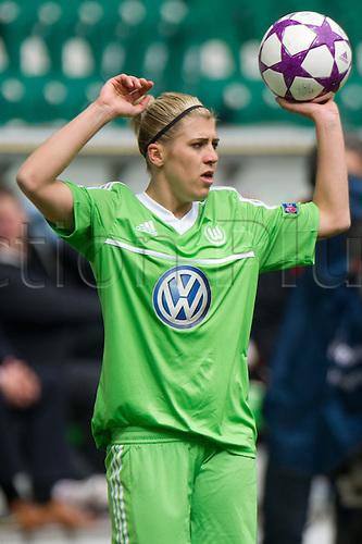 21.04.2013. Wolfsburg, Germany. Womens Champions League, Wolfsburg versus Arsenal, second leg.   Wolfsburgs Luisa Wensing with the throw-in