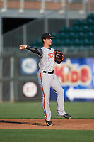Bowie Baysox shortstop Adrian Marin (8) throws to second base during a game against the Harrisburg Senators on May 16, 2017 at FNB Field in Harrisburg, Pennsylvania.  Bowie defeated Harrisburg 6-4.  (Mike Janes/Four Seam Images)