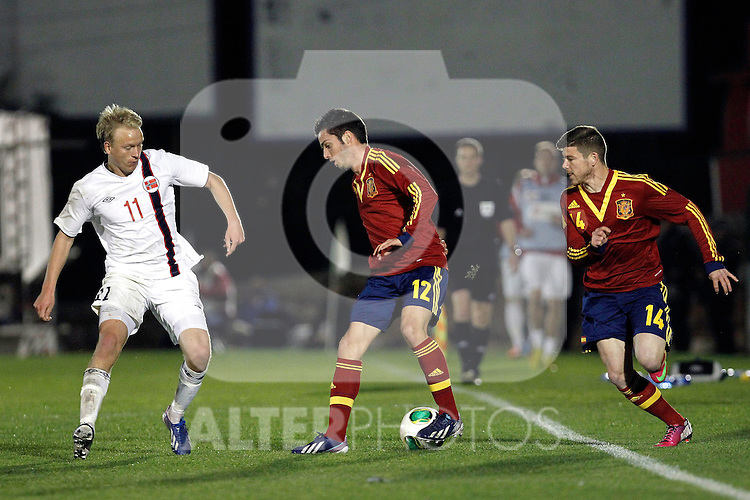 Spain's Alberto Moreno (r), Sarabia (c) and Norway's Nielsen during an International sub21 match. March 21, 2013.(ALTERPHOTOS/Alconada)