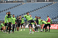 SEATTLE, WA - NOVEMBER 9: Nicolas Lodeiro #10 of the Seattle Sounders FC takes a shot at CenturyLink Field on November 9, 2019 in Seattle, Washington.