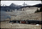 RMRRC excursion - 5-30-47, RGS #20 with caboose #0403, coach #320, etc at Lizard Head Pass.<br /> RGS  Lizard Head Pass, CO  5/30/1947