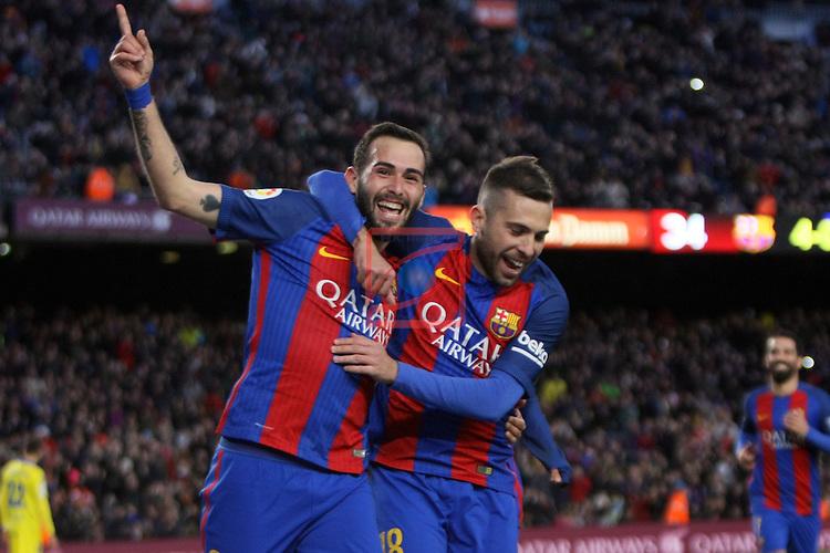 League Santander 2016/2017. Game: 18.<br /> FC Barcelona vs UD Las Palmas: 5-0.<br /> Aleix Vidal &amp; Jordi Alba.