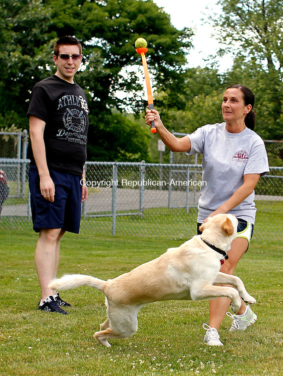 Middlebury, CT-02, July 2010-070210CM03  Natalie DiVirgilio  of Middlebury, launches a tennis ball to 2 year old Lab mix, Cody, Friday afternoon at Quassy Field in Middlebury.  Looking on is long time friend, Matt Correia.  Correia and Divirgilio, both teachers said they were enjoying their summer off.  --Christopher Massa Republican-American
