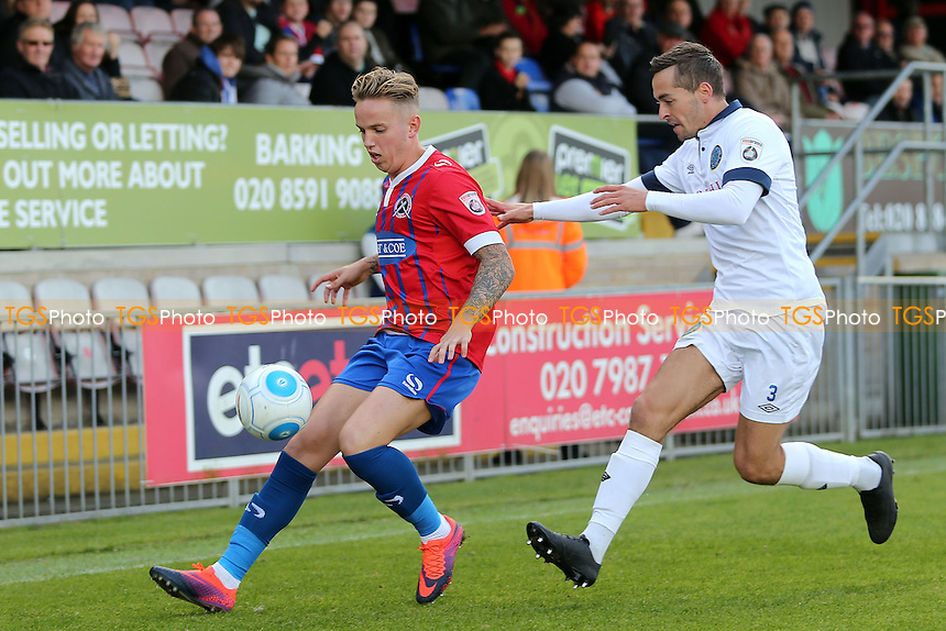 David Fitzpatrick of Macclesfield Town and Jordan Maguire-Drew of Dagenham during Dagenham & Redbridge vs Macclesfield Town, Vanarama National League Football at the Chigwell Construction Stadium on 22nd October 2016
