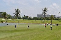 A wide shot of the green on 2 during Rd 1 of the Asia-Pacific Amateur Championship, Sentosa Golf Club, Singapore. 10/4/2018.<br /> Picture: Golffile | Ken Murray<br /> <br /> <br /> All photo usage must carry mandatory copyright credit (&copy; Golffile | Ken Murray)