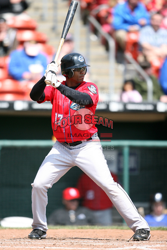 April 25, 2009:  Outfielder Jorge Padilla of the Syracuse Chiefs, International League Class-AAA affiliate of the Washington Nationals, during a game at the Coca-Cola Field in Buffalo, NY.  Photo by:  Mike Janes/Four Seam Images