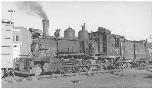 3/4 fireman's-side view of D&amp;RGW #315 switching.<br /> D&amp;RGW    Taken by Collins, Robert F.