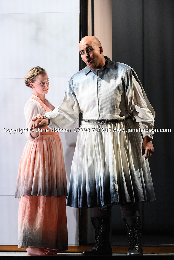 "English Touring Opera presents ""Ulysses' Homecoming"" at the Hackney Empire, prior to its UK tour. Picture shows: Martha Jones (Melanto), Adam Music (Eurymachus)"