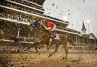 LOUISVILLE, KY - MAY 05: Abel Tasman #13 with Mike Smith fights the kickback as they trailed the field for the Kentucky Oaks at Churchill Downs on May 5, 2017 in Louisville, Kentucky. (Photo by Alex Evers/Eclipse Sportswire/Getty Images)