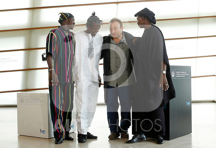Actors (L to R) Amon Pegnere, Alou Cisse, Spanish painter Miquel Barcelo and Amassagou Dolo during the 59th San Sebastian Donostia International Film Festival - Zinemaldia.September 19,2011.(ALTERPHOTOS/ALFAQUI/Acero)