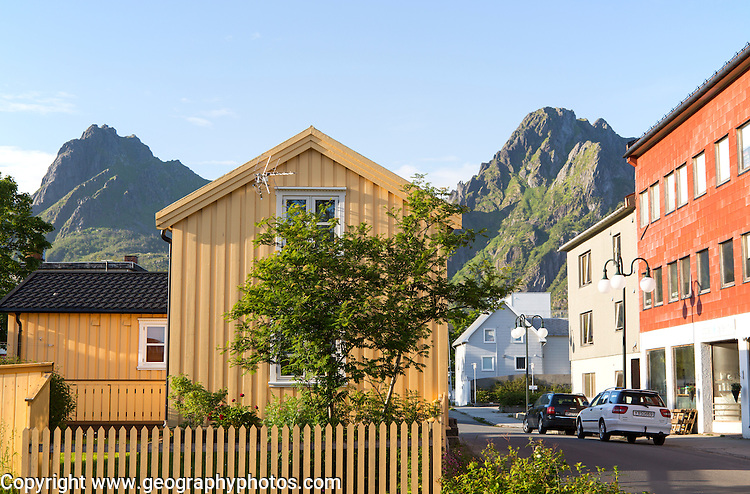 Traditional architecture wooden house, Svolvaer, Lofoten Islands, Nordland, Norway