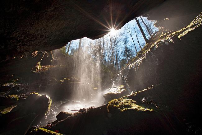 Sunstar and falling water, Whiteoak Sink